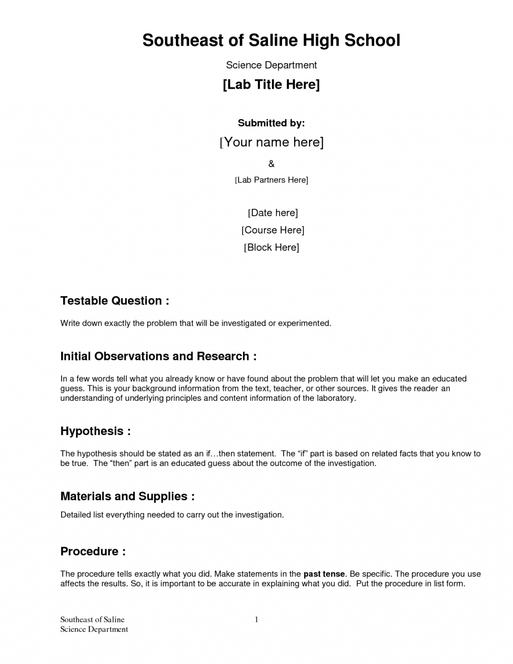 Science Lab Example 9 Lab Report Templates 01 25