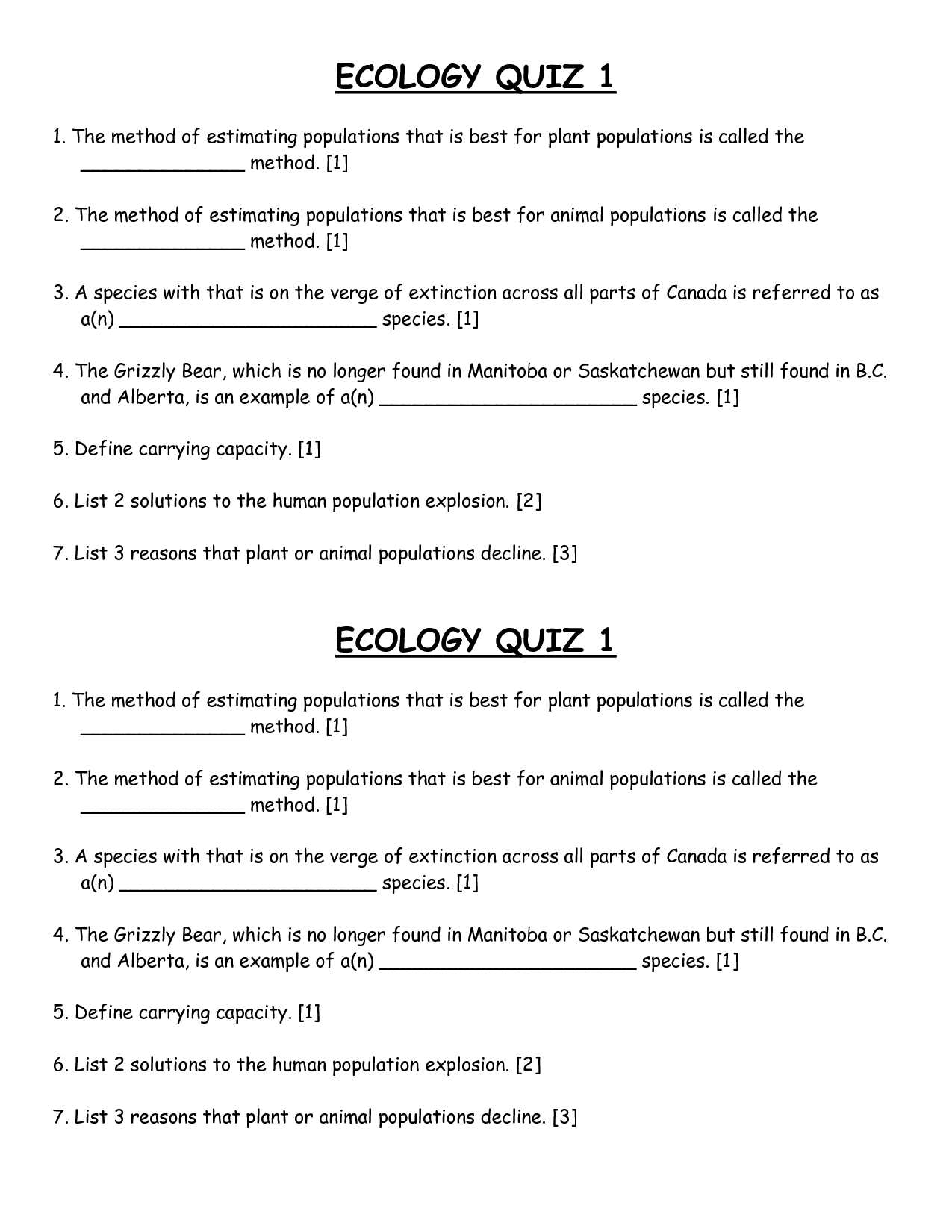 Ecology Quiz Biological Science Picture Directory