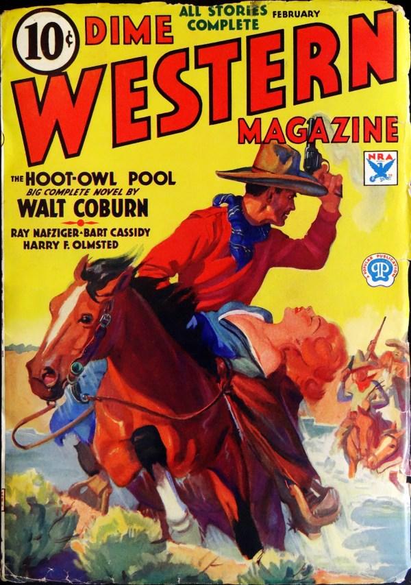 Dime Western Vol. 4, No. 3 (Feb., 1934). Cover by Walter M. Baumhofer
