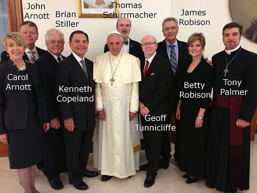 Image result for picture of Pope Francis with Charismatic leaders Kenneth Copeland and