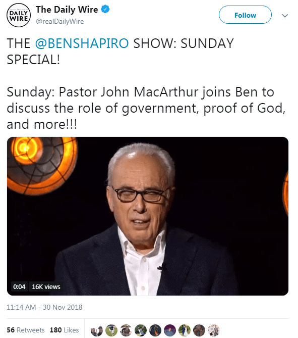 John MacArthur to Appear on Ben Shapiro Program to Discuss God