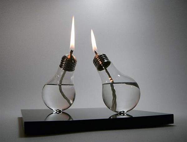 Convert used light bulbs into oil lamps