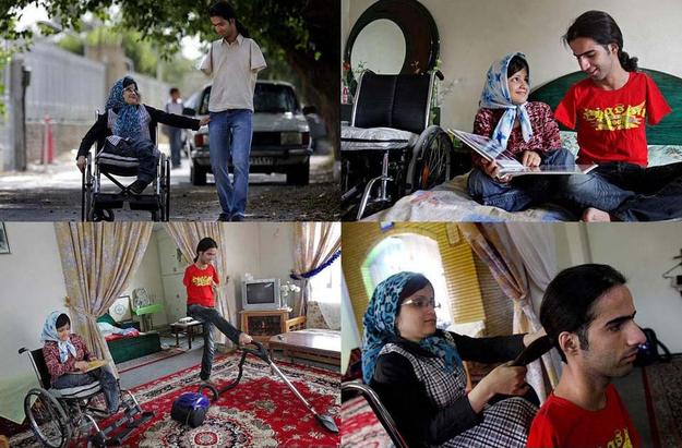 These pictures of Ahmad and Fatima, a young married couple who, despite Ahmad having no arms and Fatima having no legs, take care of each other.