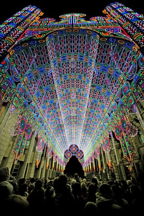 5. A cathedral decorated in 50,000 LED lights.