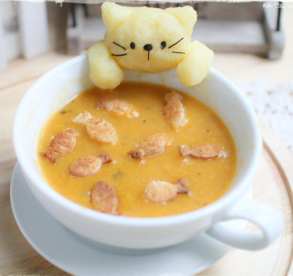 Cat Catching Fish In Soup