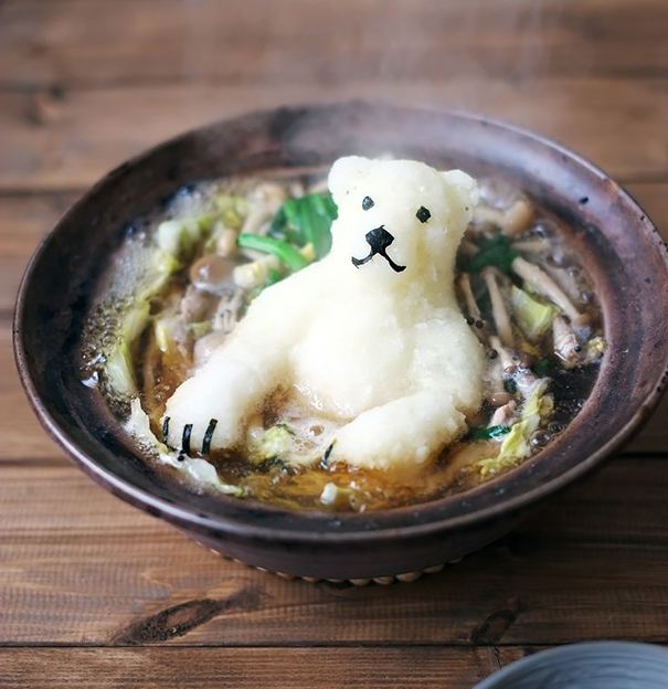 Polar Bear Shaped Radish In Japanese Hot Pot