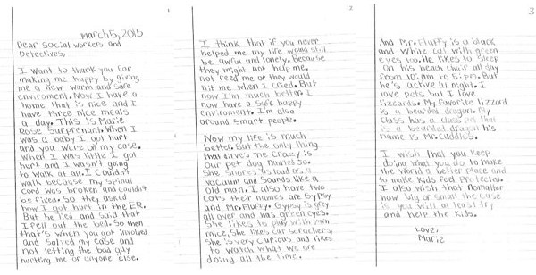 8-Year-Old Abuse Survivor Writes Letter To Social Workers