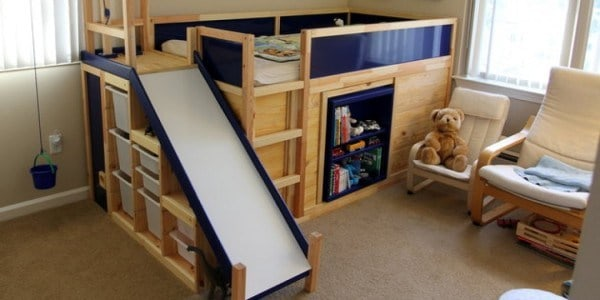 dad makes son badass bed with slide and secret room in epic ikea hack