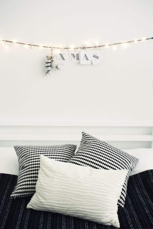 3 lights and print out letters are perfect for some last minute flair - Minimalist Christmas Decor