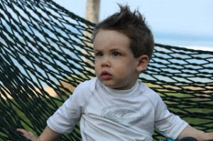 Grayson relaxing during his first trip to Maui