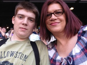 Adam and his mom attend a Mariner's baseball game with Adam's VAD