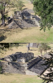 A collage of two photos showing Mayan ruins.