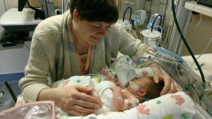 Mom with Onora in Hospital