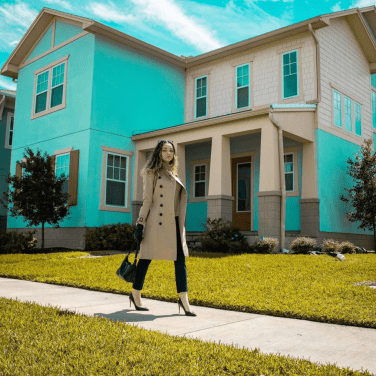Woman walking through the streets of a neighborhood in Lake Nona, a community just outside of Orlando, Florida.