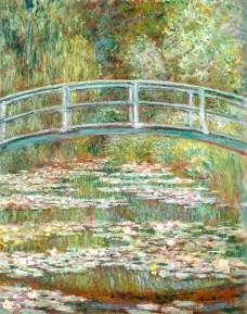 Bridge over a Pond of Water Lilies by Claude Monet, high resolution famous painting. Original from The ME. Digitally enhanced by rawpixel.