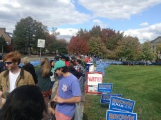 Students line up outside of Ritchie Coliseum waiting for Hillary Clinton on Thursday October 30, 2014.