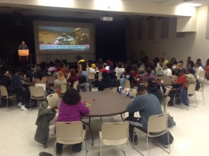 Students await decision to be made on Darren Wilson as the meeting progresses (Jessie Karangu/Pulsefeedz)