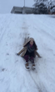 Lindsey Feingold/Pulsefeedz UMD Student Mina Griffioen sledding down the Xfinity Center hill