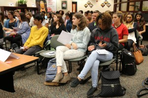 Students listen closely as the panelists talk about their careers and give advice. Courtesy of Allene Abrahamian/College of Arts and Humanities