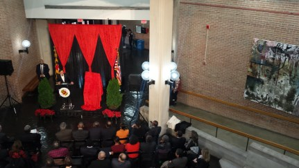 Tristan Madden/ Pulsefeedz Wallace Loh speaking at the dedication