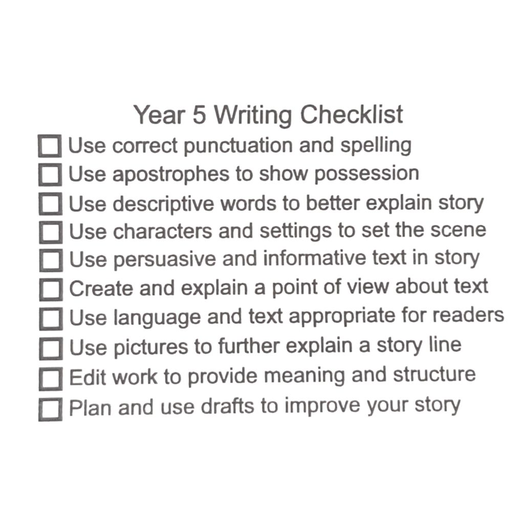 Year 5 Writing Checklist
