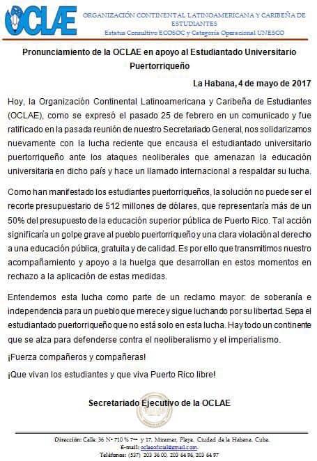 Organización que representa sobre 100 millones de estudiantes apoya la lucha de la UPR