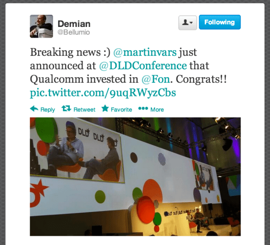Demian Bellumio tweets Martin Varsavsky's announcement at the DLD Conference in Munich.