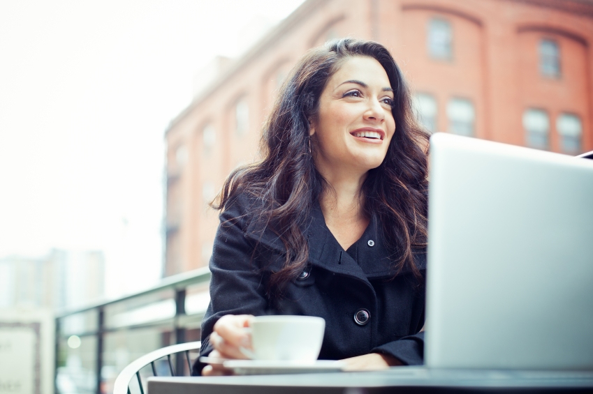 Attractive-Woman-Laptop-Coffee