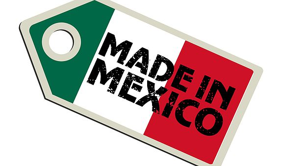 vector illustration of label with flag of Mexico