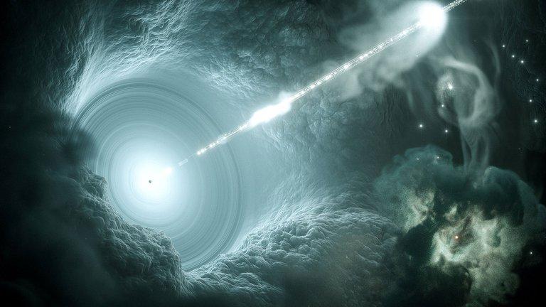 Representación artística de un agujero negro como el J2157, que tiene 34.000 millones de veces la masa del Sol y come tanta masa como la de nuestra estrella a diario (Reuters)