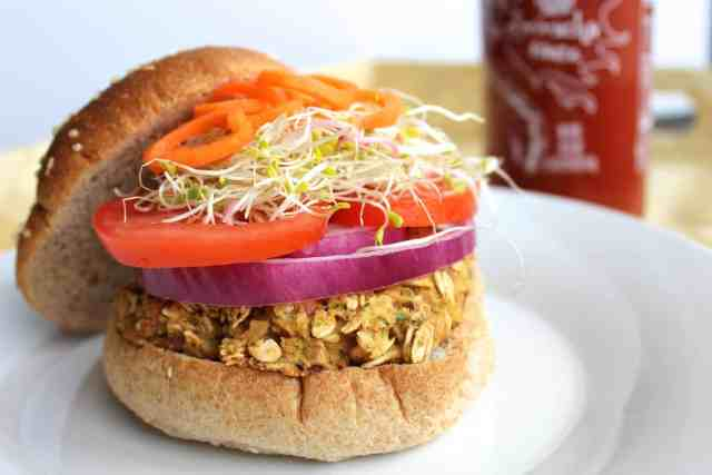 California Chickpea Veggie Burger {pumpkin & peanut butter}