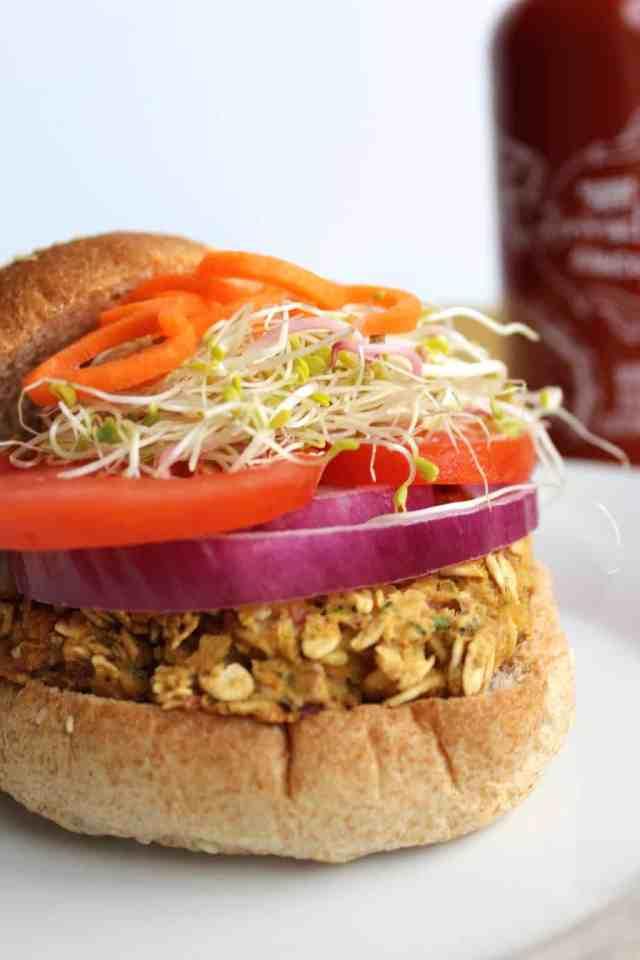 California Chickpea Veggie Burger {pumpkin & peanut butter}