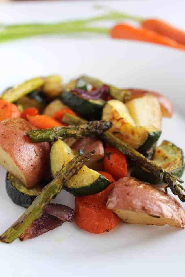 Balsamic Roasted Spring Vegetables {pumpkin & peanut butter}