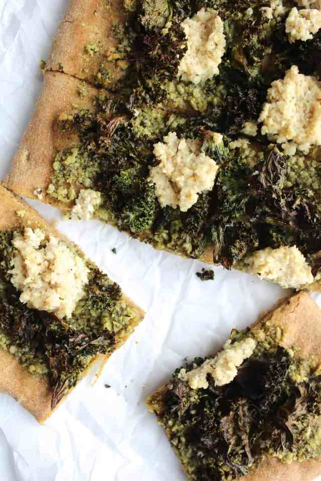 "Crispy Kale Pesto Pizza with Cashew ""Ricotta"""