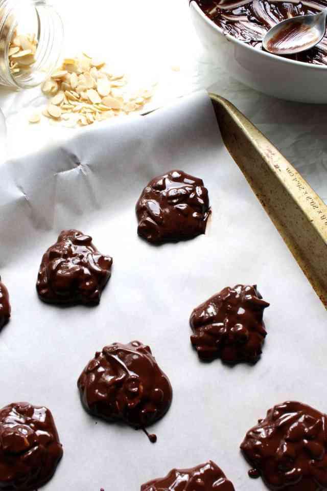 Dark Chocolate Peanut Butter Almond Clusters // pumpkin & peanut butter