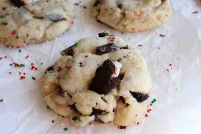 Trashed Up Peppermint Chocolate Chunk Cookies // pumpkin & peanut butter