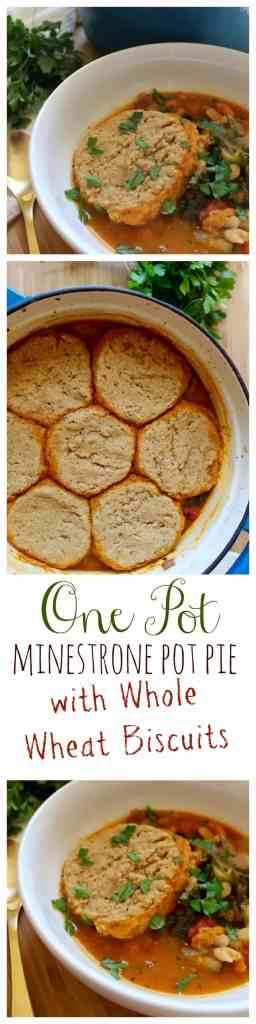 One Pot Minestrone Pot Pie with Whole Wheat Biscuits // pumpkin & peanut butter
