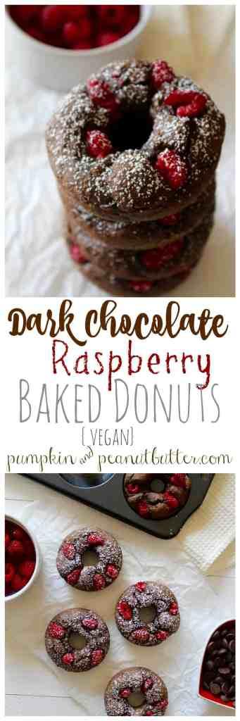 Dark Chocolate Raspberry Baked Donuts {vegan} // pumpkin & peanut butter