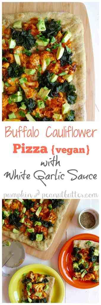 Buffalo Cauliflower Pizza with White Garlic Sauce {vegan} // pumpkin & peanut butter