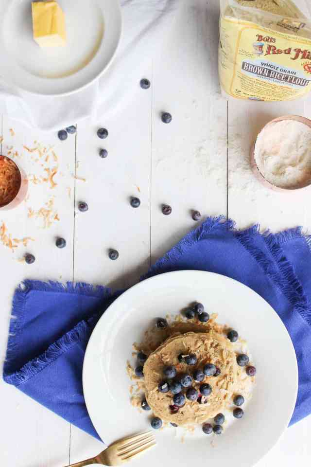 Toasted Coconut Blueberry Pancakes {made with brown rice flour}--- vegan and gluten free // pumpkin & peanut butter
