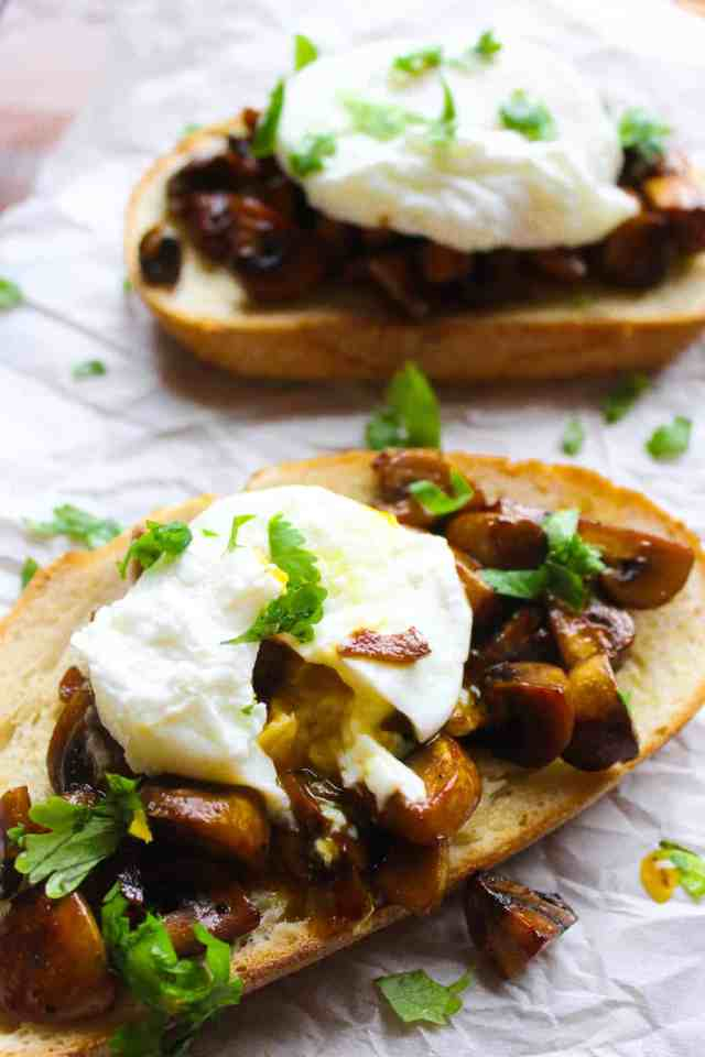 Soy Glazed Mushroom Toast with Poached Egg // pumpkinandpeanutbutter.com