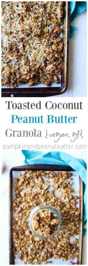 Toasted Coconut Peanut Butter Granola {vegan, gluten free} // pumpkinandpeanutbutter.com