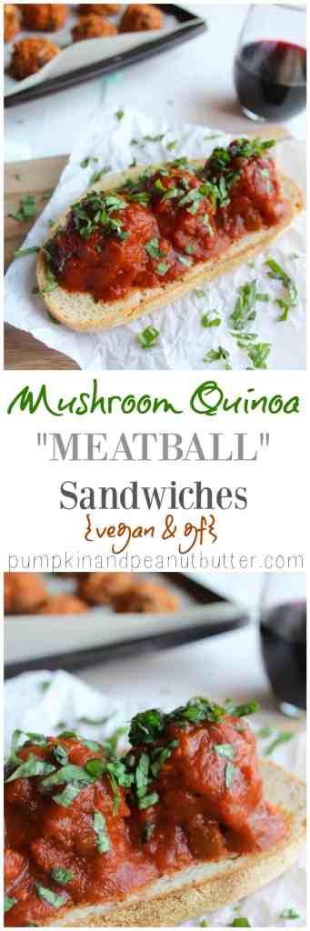 Mushroom Quinoa Meatball Sandwiches {vegan, gf option} // pumpkin & peanut butter
