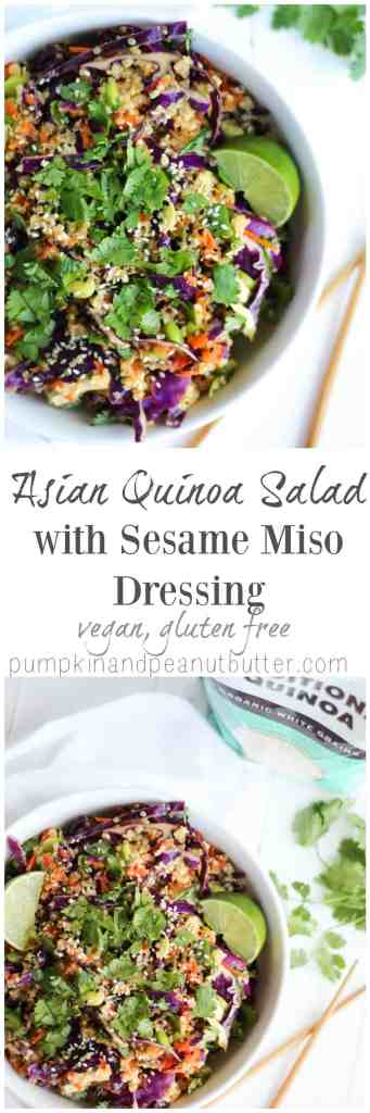 Asian Quinoa Salad with Sesame Miso Dressing {vegan, gluten free} // pumpkinandpeanutbutter.com