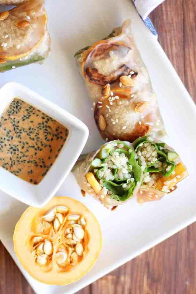 Squash & Asparagus Autumn Rolls with Maple Peanut Sauce {vegan, gluten free} // pumpkinandpeanutbutter.com
