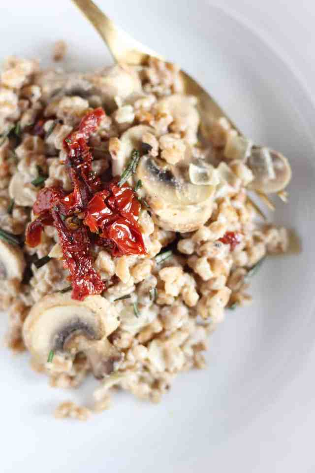 Farro Risotto with Sundried Tomatoes, Mushrooms, and ...