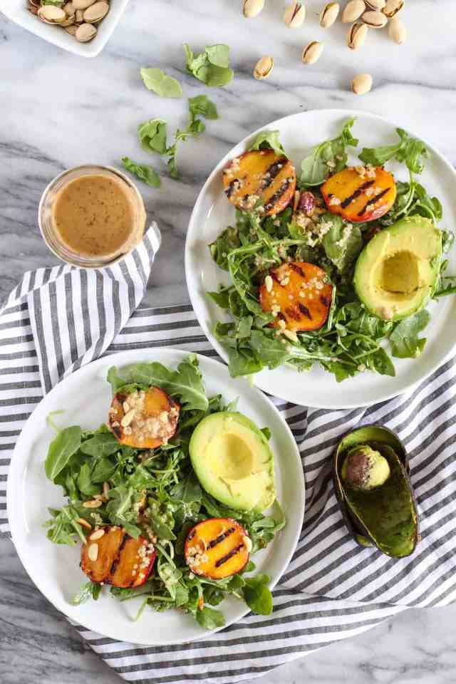 Grilled Peach, Arugula, & Pistachio Salad {vegan, gluten free} || pumpkin & peanut butter