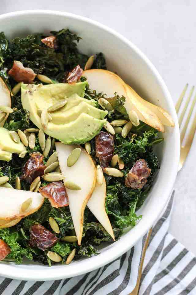 Crispy Kale Salad with Dates, Pear, + Avocado