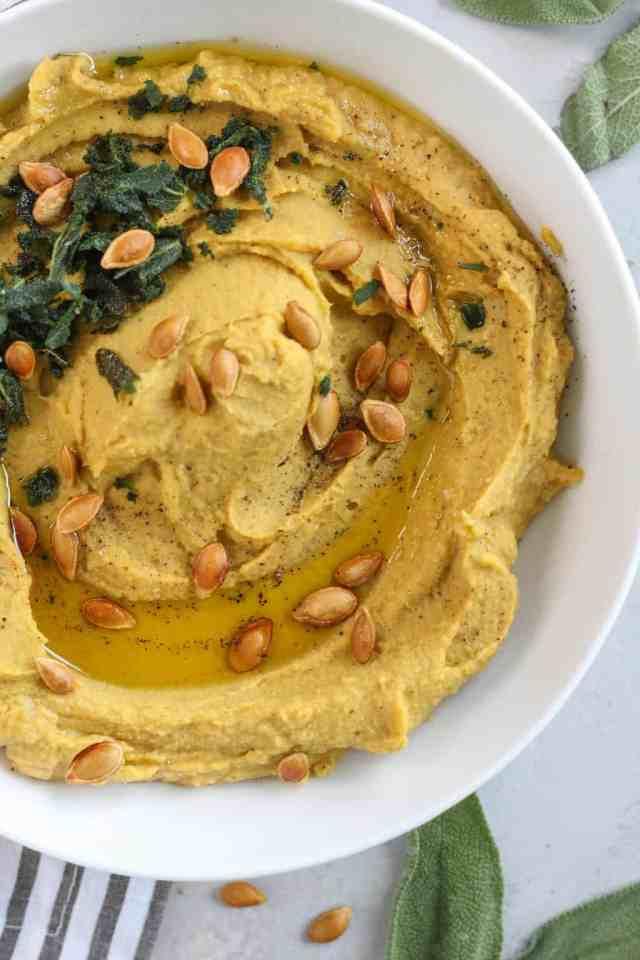 Roasted Butternut Squash Hummus with Crispy Sage | pumpkin & peanut butter