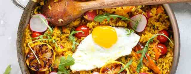Vegetable Paella with Farm Egg | pumpkin & peanut butter